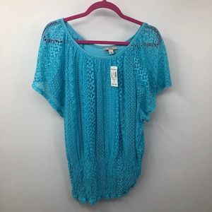 Dressbarn Mesh Cutout Lined Blouse Top Wide Neck